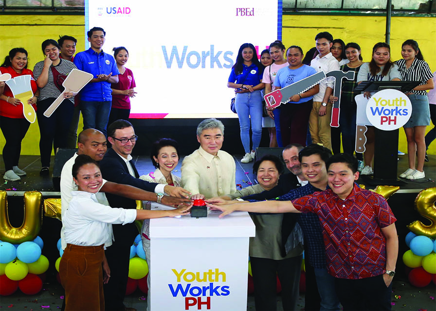 U.S. Ambassador to the Philippines Sung Kim joins government and private sector partners and local youth during the launch of the YouthWorks PH Recruitment Drive.